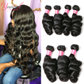 Younsolo Loose Wave Bundles Brazilian Human Hair Loose Bundles Remy 1/3/4 /Pcs Lot Loose Natural Black 100% Human Hair Extension