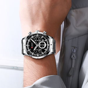 Image 3 - CURREN Luxury Fashion Quartz Watches Classic Silver and black Clock Male Watch Mens Wristwatch with Calendar Chronograph