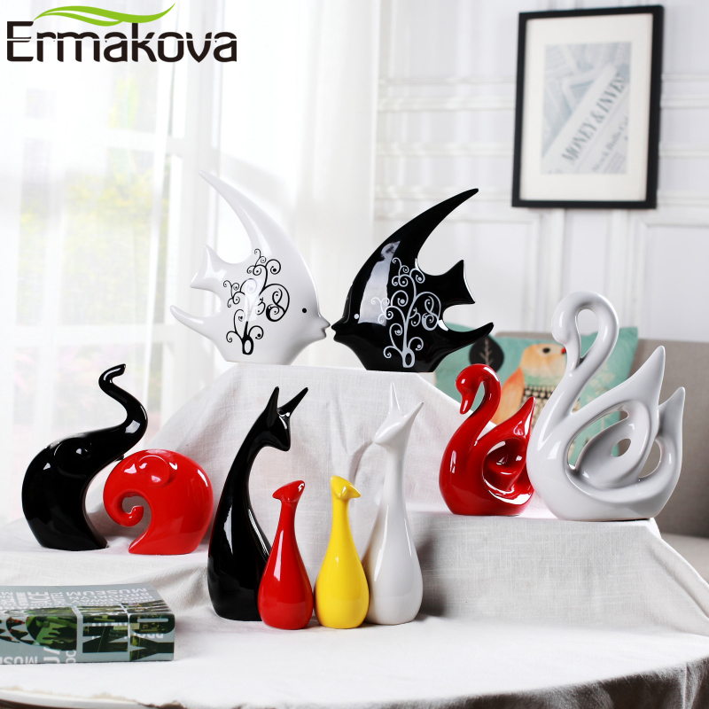 ERMAKOVA Ceramics Animal Elephant Sculpture Porcelain Ornaments Deer Crafts Art Figurine Home Office Desktop Decoration Gift