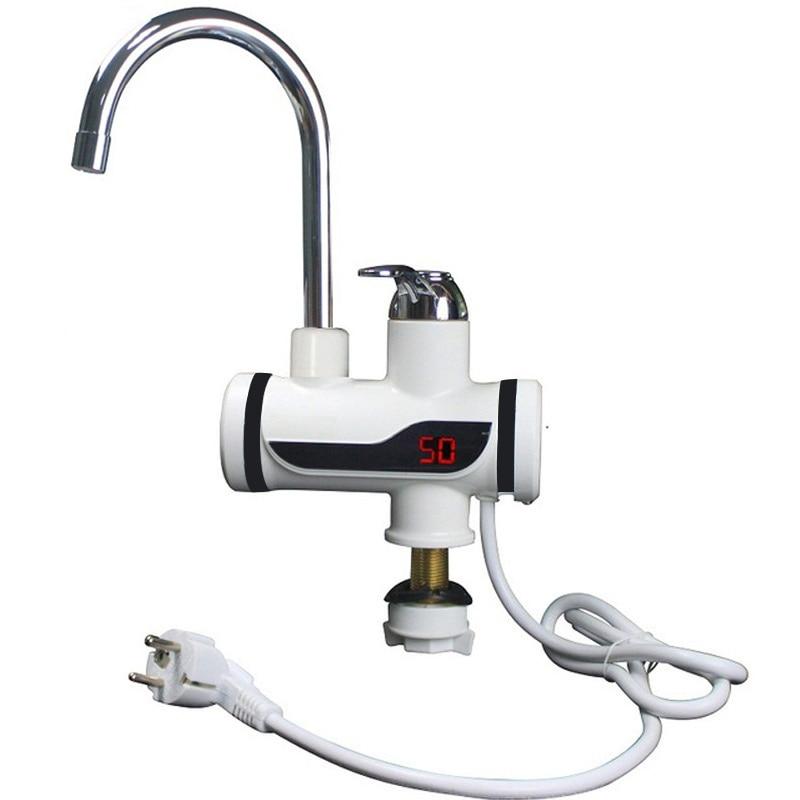 3000W chauffe-eau instantané grue affichage de la température chauffe-eau électrique eau chaude sans réservoir chauffage salle de bains cuisine robinet