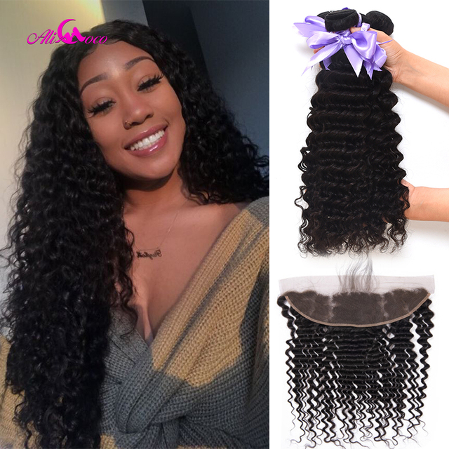 $ US $62.16 Ali Coco Brazilian Deep Wave Lace Frontal With Bundles Ear To Ear Lace Frontal With Bundles Remy Human Hair Bundle With Frontal