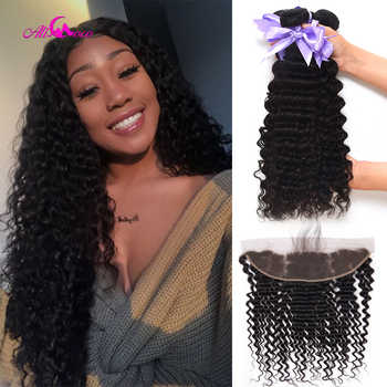 Ali Coco Hair Deep Wave Brazilian Hair Lace Frontal Closure With Bundles Human Hair 3/4 Bundles With Frontal Non Remy Weave - DISCOUNT ITEM  50% OFF All Category