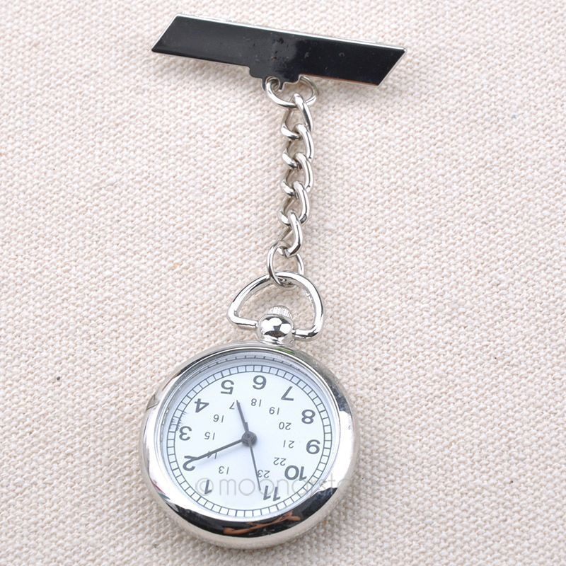 Silver Smooth Antique Pocket Watch Stainless Steel Medical Doctor Brooch Fob Pendant Chain Quartz Cross Classical Nurse Watch