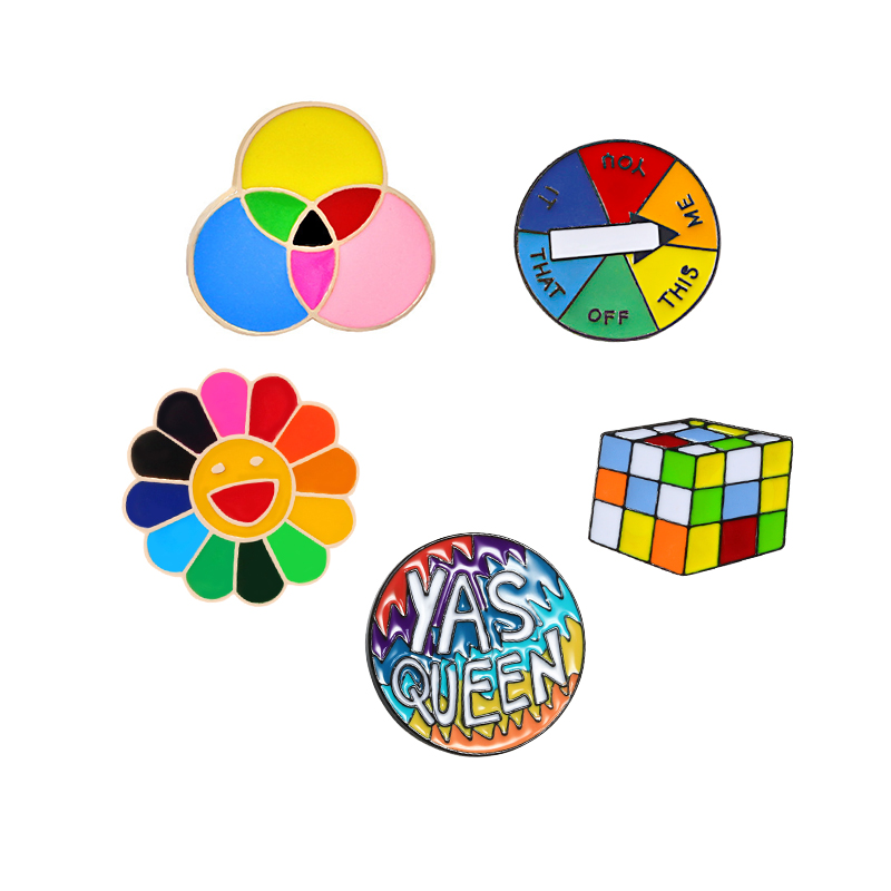 Colorful Flower Cube Enamel Pins Rainbow Circle YAS QUEEN Game Turntable Brooch Cartoon Bag Badges Shirts Lapel Jewelry Gifts