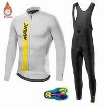 2019 Mavic Pro team Winter Long Sleeve Cycling Jersey Set MTB Bike Clothing Uniform Thermal Fleece Bicycle 20D gel pad