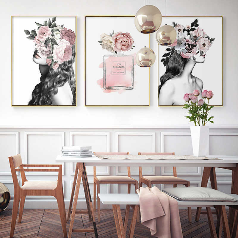 Modern Peony Flower Avatar Girl Perfume Canvas Painting Wall Print Poster Wall Art Bedroom Living Room Modern Home Decoration