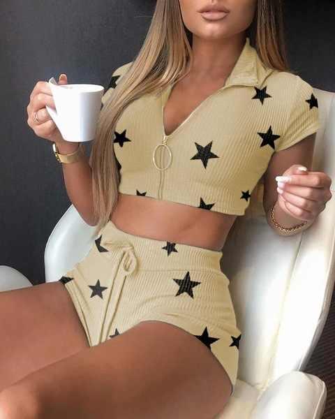 여자 스타 인쇄 옷깃 니트 양복 자르기 가기 짧은 바지 2 조각 세트 여성 여성 탑스 바지 두 조각 세트 여성 정장