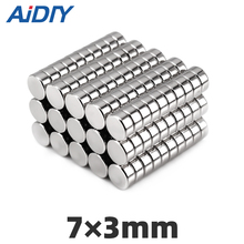50Pcs 7mm x 3mm N35 Neodymium Magnet Diy 7x3mm Super Strong Mini Small Cylinder Round Rare Earth Magnets For Crafts Disc 7*3mm стоимость