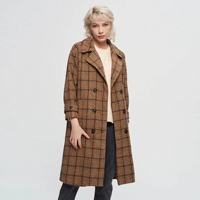 Autumn winter New Women plaid Trench Coat Long Windbreaker Double Breasted thick Slim Long Trench outerwear female za manteau