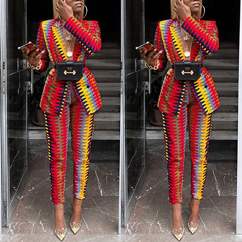 2019 Autumn And Winter New Style Europe And America Women's Fashion Printed Suit Two-Piece Set WOMEN'S Dress Online Celebrity Se