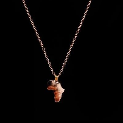 Классические африканские карты ожерелье и кулон для женщин и мужчин ожерелье Золото Серебро Цвет колье Африке Ювелирные изделия - Окраска металла: Rose Gold
