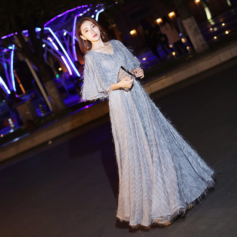 It's Yiiya Evening Dress For Women V-neck Formal Gowns Long Half Sleeve Evening Dresses Elegant Plus Size Robe De Soiree LF163