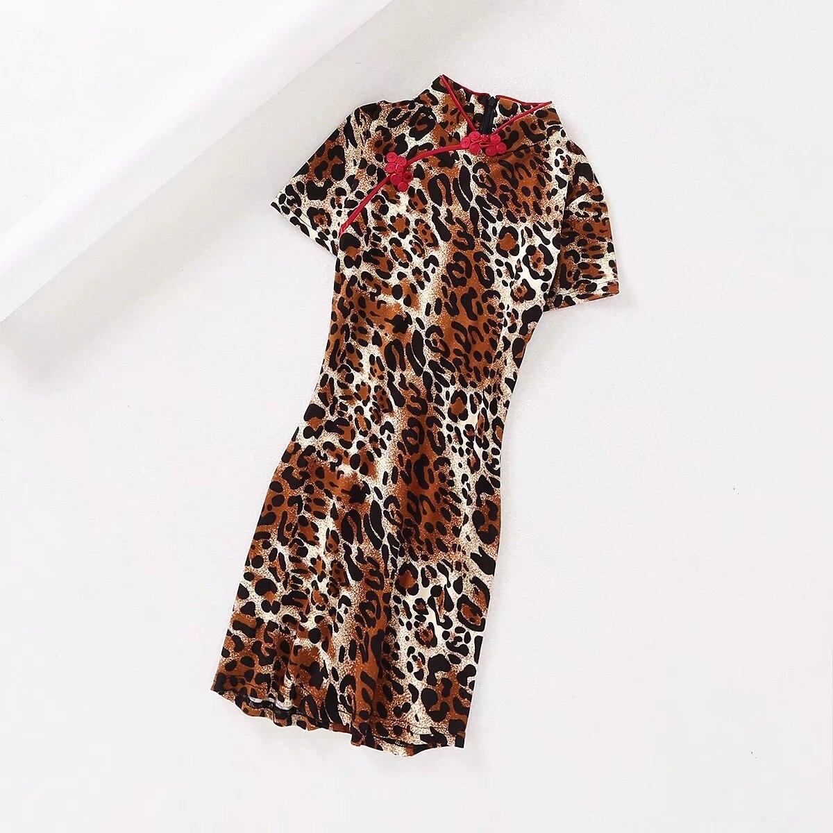 2019 New Products INS Europe And America WOMEN'S Dress Leopord Pattern Knot Button Bag Body Cheongsam-Dress Slim Fit Mini Dress
