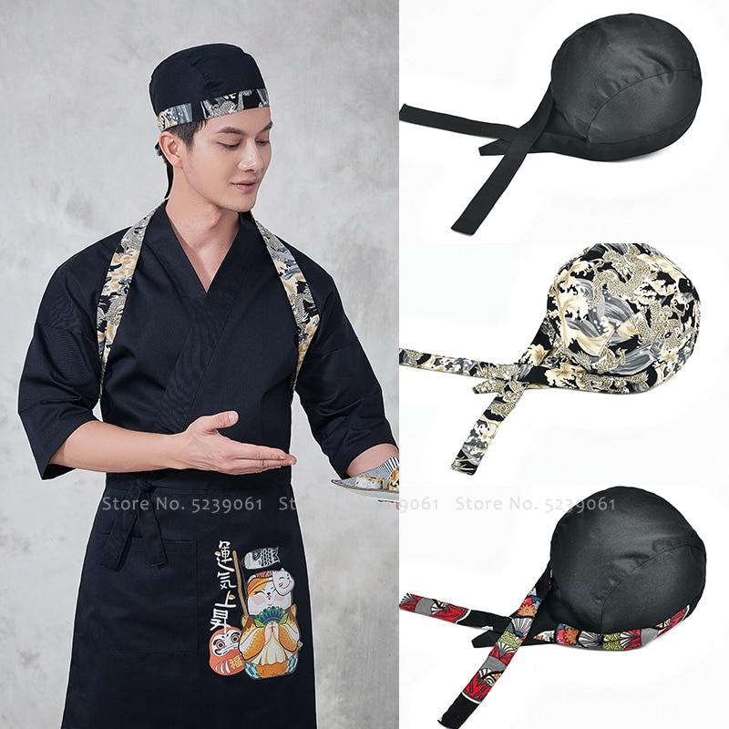 Japanese Style Sakura Dragon Print Hat Men Women Kitchen Chef Food Cooking Pirate Cap Izakaya Sushi Uniform Waiter Headpiece