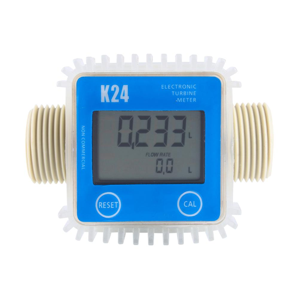 Tools : 1pc K24 Turbine Digital Diesel Oil Fuel Flow Meter Gauge For Chemicals Liquid Water Hot