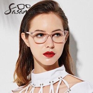 Image 3 - Oprawki do okularów kocie oczy kobiety beżowe okulary moda kobiety oprawki do okularów octan okulary dla osób z krótkowzrocznością wyczyść Gafas okulary ramka kobiety