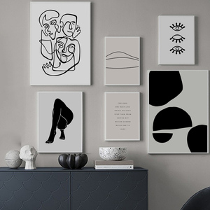 Image 2 - 추상 미술 인쇄 라인 캔버스 포스터 흑백 벽화 중립 벽 그림 따옴표 인쇄 그림 홈 인테리어