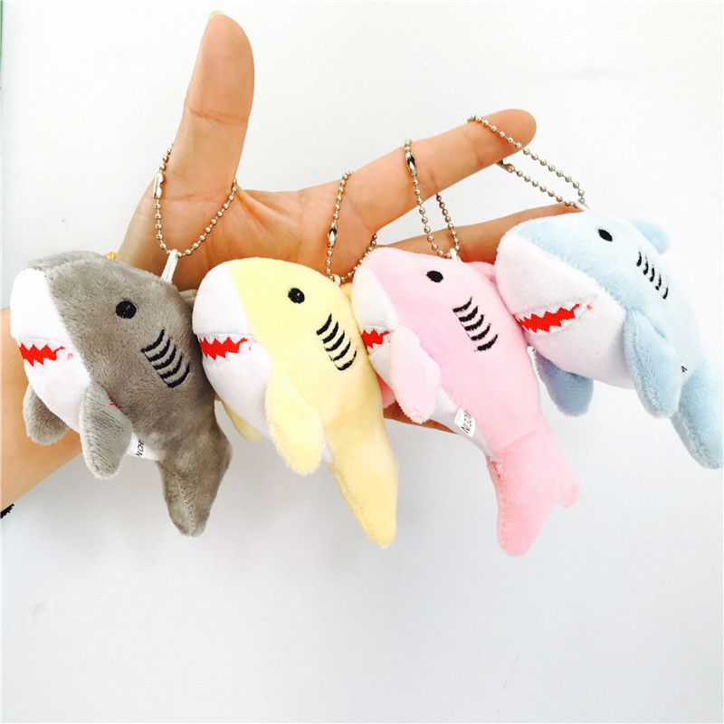 1pcs Kawaii 12CM Key Chain Gift Shark Plush Stuffed Toy Doll Kid's Small Mini Plush Toys Cute Plush 4 Colors