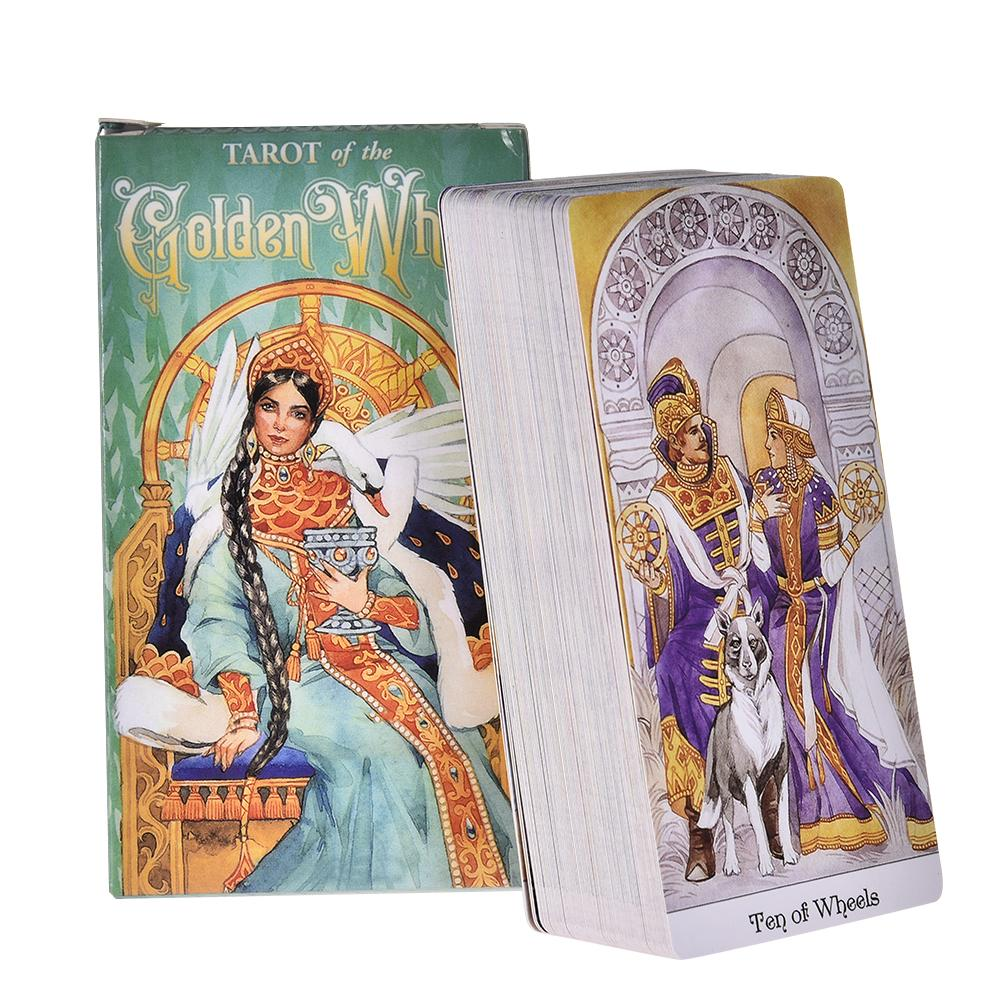 78pcs Full English Tarot Of The Golden Wheel Tarot Card Deck Board Game Guidance Divination Fate Oracle Women Party Playing Card
