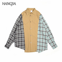 Hip Hop Patchwork Tartan Shirts Men Women Oversized Irregular Cut Patch Plaid Shirt Male Ins Trend Special Loose Clothes 2019