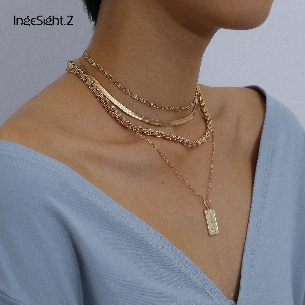 IngeSight.Z 4Pcs/Set Multi Layer Twisted Metal Rope Chain Choker Necklace Vintage Carved Coin Portrait Pendant Necklaces Jewelry