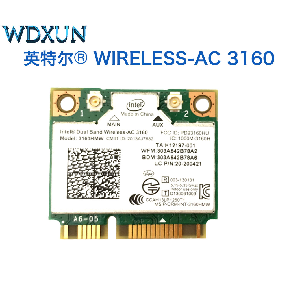 New Intel 3160HMW  Dual Band Wireless AC + Bluetooth Mini PCIe Card Supports 2.4 And 5.8Ghz B/G/N/AC Bands Mounting Screws