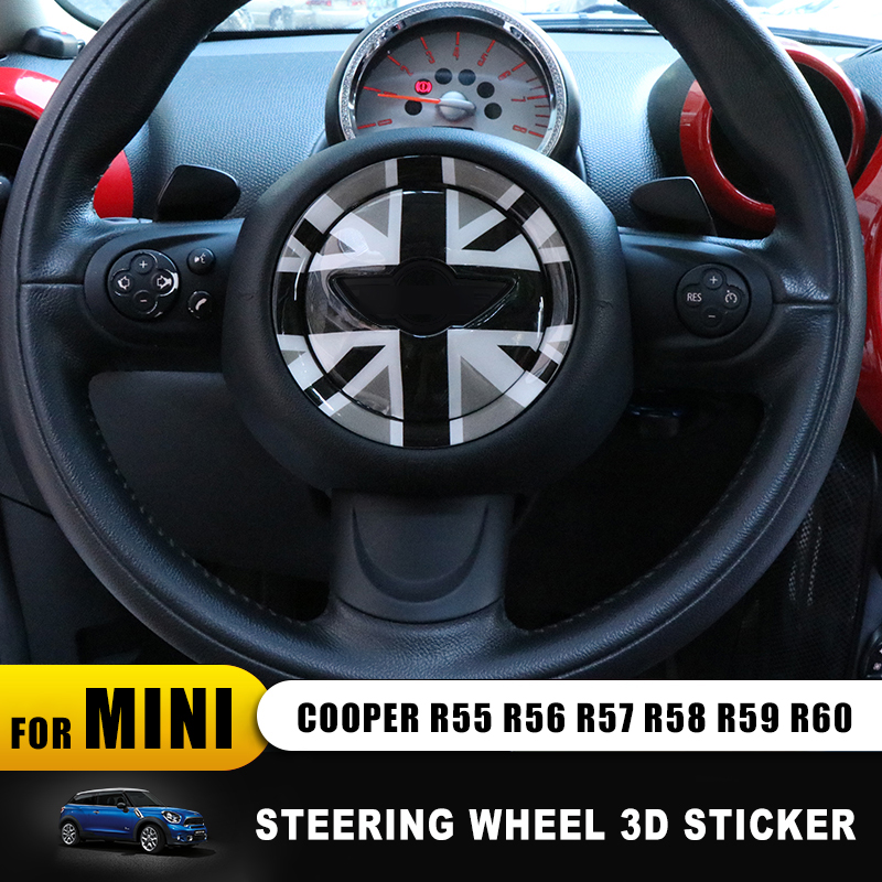 New Union Jack 3D Steering Wheel Center Panel Epoxy Sticker Decals Indoor Decorative For MINI COOPER R55 R56 R60 R61 Countryman