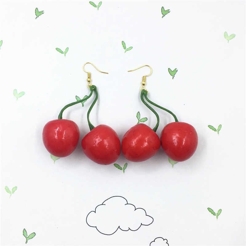 Two Large Red Cherry Earrings Rockabilly Fruits Earrings Boho Style Earrings Gold Earrings Chrismas Gifts