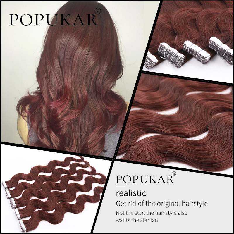 Popukar Double Drawn Cuticle Aligned Russian Real Hair 2g/piece 20PCS Body Wave Remy Virgin Tape In Hair Extensions Human Hair