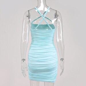 Image 5 - NewAsia عبر حزام فستان صيفي المرأة بلا أكمام Ruched فستان مثير 2020 ضمادة قبالة الكتف فساتين صغيرة نادي الملابس Vestidos