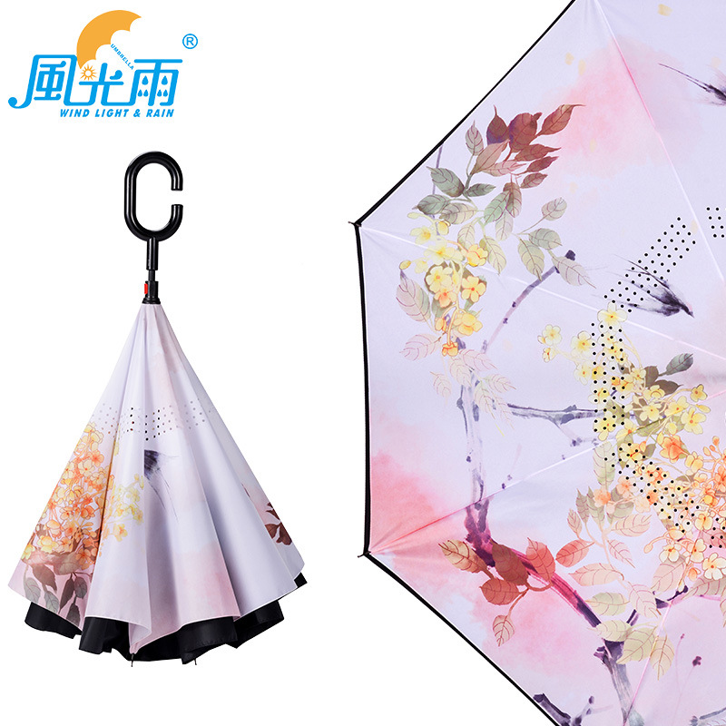 Umbrella Customizable Logo Pattern Image Long Handle Straight Umbrella Straight Handle Car Reverse Umbrella Manufacturers Wholes