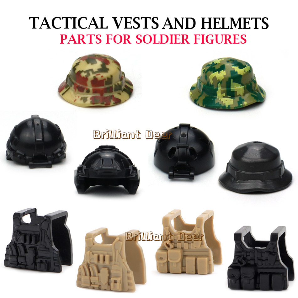 Military SWAT Team Assault Helmet Tactical Vest Weapons DIY MOC Accessories Compatible Legoed City Police Army Soldier Figures