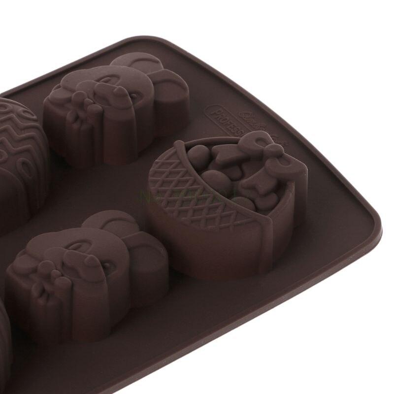 8 пасхальное яйцо кролик кронштейн форма помадка формочка для кексов, мыла шоколад из силиконовой формы декор ремесло DIY инструмент для украшения