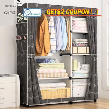 Delivery  normal  DIY Non-woven fold Portable Storage  furniture When the quarter wardrobe  Cabinet bedroom furniture wardrobe simple fashion wardrobe non woven fabric steel frame reinforcement standing storage organizer clothes cabinet bedroom furniture