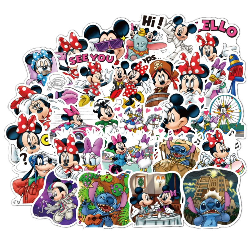 New 80pcs Mickey Mouse Sticker Minnie Cartoon Character PVC Graffiti Stickers Suitcase Guitar Car Mickey Sticker Waterproof