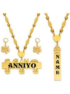 Anniyo Earrings-Set Jewelry Necklace Capital-Letters Customize Hawaiian Men Personalized