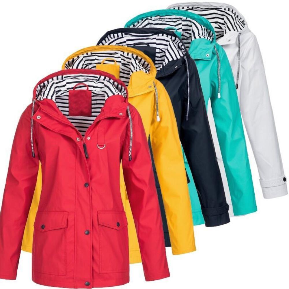 Women Quick Dry Outdoor Hiking Jacket Waterproof Sun UV Protection Coats Solid Color Long Sleeve Hooded Rain Windbreaker Gift