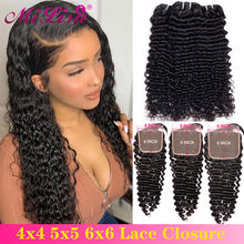6x6 5x5 Brazilian Deep Wave Bundles With Closure Remy Human Hair 3 and 4 Bundles With Lace Closure Mi Lisa Human Hair Extensions(China)
