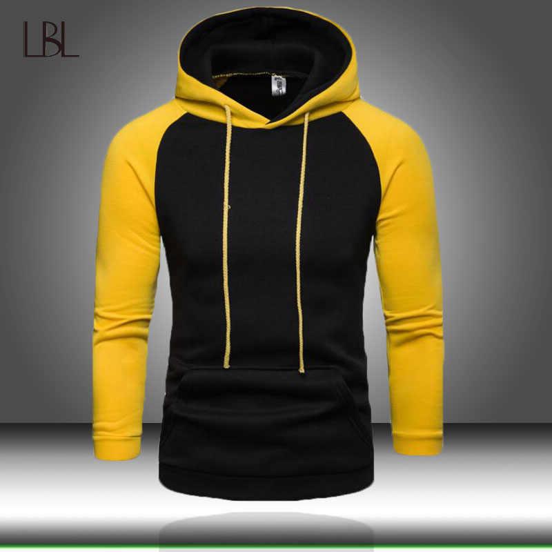 EU Size Fashion Colorful Hoodies Men's Thicken Clothes Winter Sweatshirts Men Hip Hop Streetwear Patchwork Fleece Man Hoody