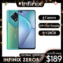 Infinix ноль 8 глобальная версия 128G 8G Оперативная память Octa Core 4 90 Гц 6,8 дюймДисплей камеры 64 мп Helio G90T процессор 33 Вт Быстрая зарядка