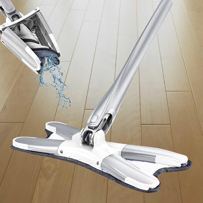 X-type Mop podłogowy płaskie mopy 360 stopni do drewna płytki ceramiczne urządzenie do czyszczenia domu gospodarstwa domowego z wielokrotnego użytku podkładki z mikrofibry Lazy Mop