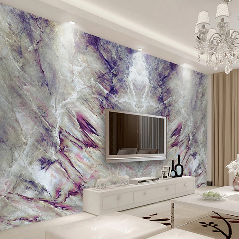 Custom Mural Wallpaper 3D Stereo Purple Marble Texture Wall Painting Living Room TV Sofa Bedroom Luxury Home Decor Wall Papers