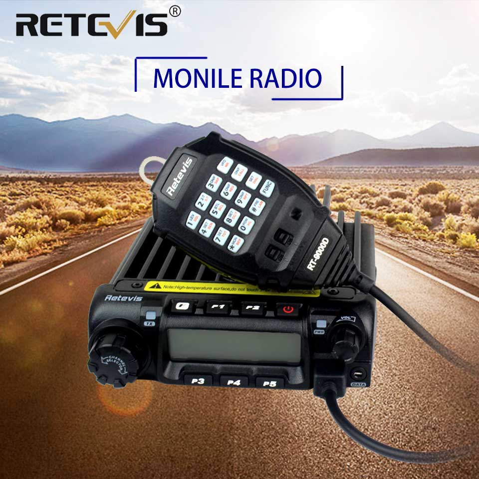 Retevis RT-9000D Mobile Car Radio Transceiver VHF 66-88MHz (or UHF) 60W 200CH Scrambler Walkie Talkie+Speaker MIC+Program Cable(China)