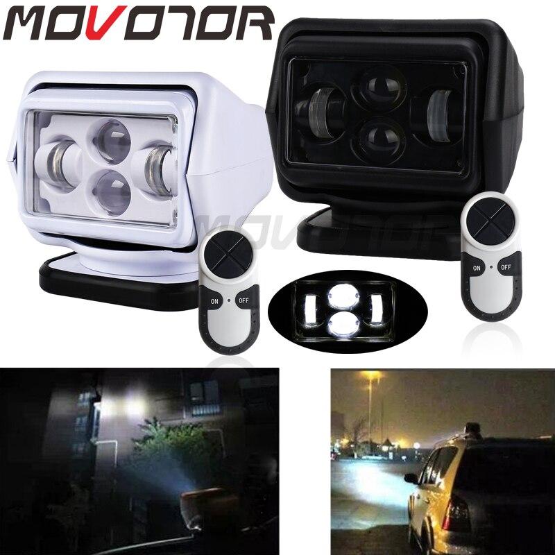 Movotor 1 pçs 60 w dc 12/24 v led holofote de controle remoto sem fio base magnética para veículos do barco carro wrangler feixe