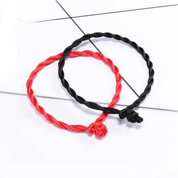 Hot Sale 2020 1PC Fashion Red Thread String Bracelet Lucky Red Green Handmade Rope Bracelet for Women Men Jewelry Lover Couple image