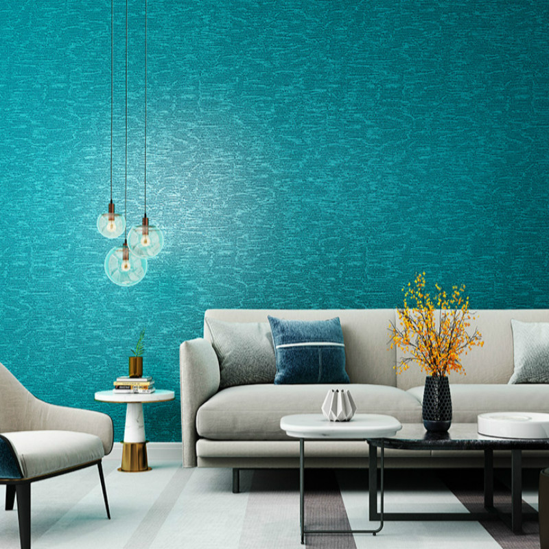Solid Color Peacock Blue Wallpaper Plain Green Blue Wall Paper Waterproof PVC Textured Feature