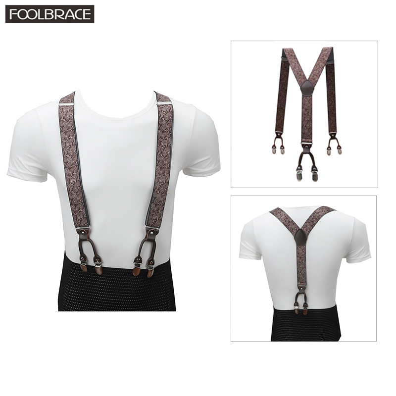 3.5cm Suspenders Men Brown Genuine Leather Braces Adjustable 6 Clips Suspenders Commercial Western Style