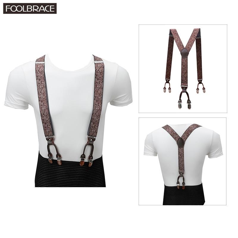 3.5cm Suspenders Men Brown Genuine Leather Braces Adjustable 6 Clips Suspenders Commercial Western Style