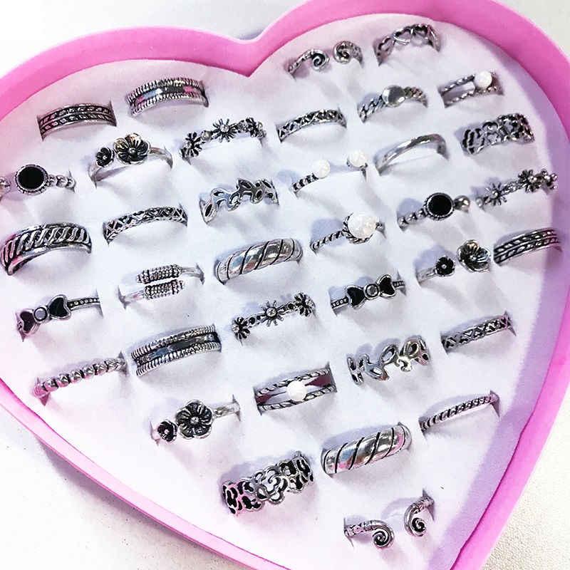 2pcs/lot Trendy Children Kids Sweet Cute Adjustable Cartoon Crystal Alloy Rings Fashion Jewelry Gifts  Randomly