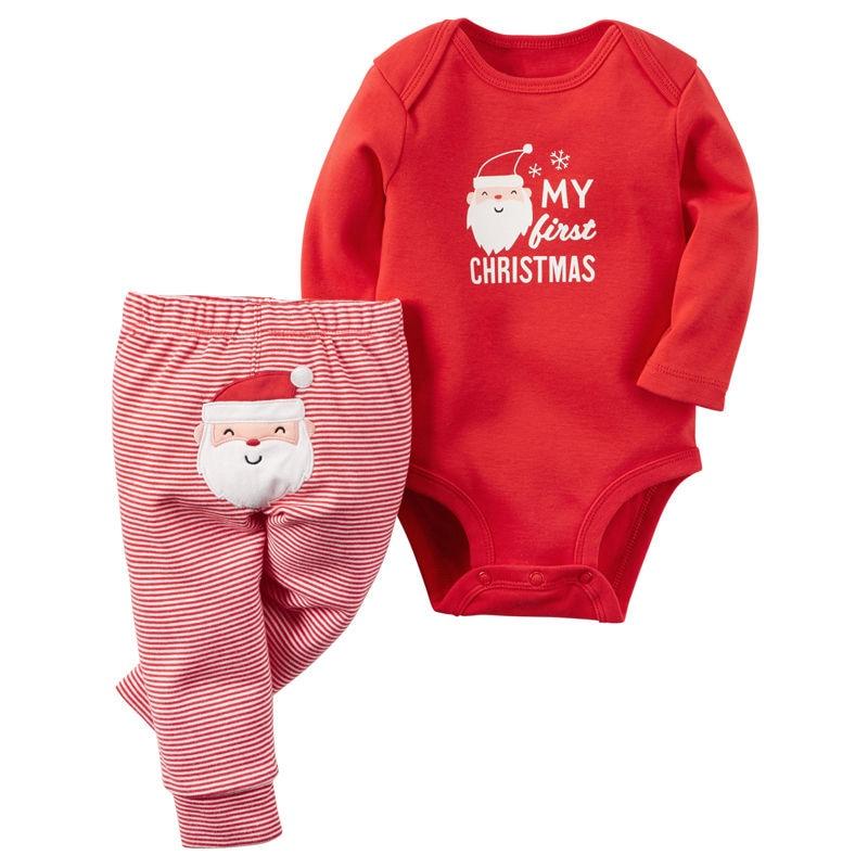 2018 Рождественский комплект для новорожденных мальчиков и девочек, рождественские штаны, комбинезоны, Одежда для младенцев, комбинезон